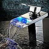 KINSE® Grifo con luz LED RGB Lavabo grifo Cascada grifo Cuarto de baño grifo de la cocina - Laton cromado plata