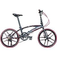 22-Zoll-Doppelrohr-Klappfahrrad, tragbare, Scheibenbremse, leichtes Rennrad für Männer und Frauen, Erwachsene,Schwarz