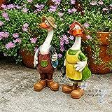 Statuette da giardino Coppia Duck Figurine Impermeabile Statua Da Giardino In Resina Per Cortile Paesaggio Decorazione Per Prato Artigianato Regalo - 10 * 9 * 27 Cm A