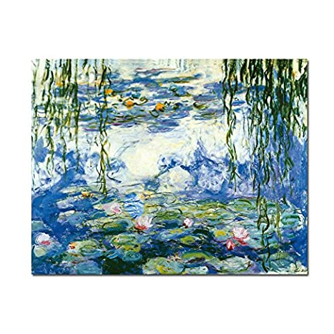 Wieco Art - Water Lilies by Claude Monet Oil Paintings Flowers Reproduction Modern Giclee Canvas Prints Artwork Landscape Pictures Printed on Canvas Wall Art for Home Kitchen Décor