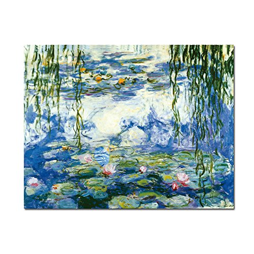Wieco Art - Water Lilies by Claude Monet Oil Paintings Flowers Reproduction Modern Giclee Canvas Prints Artwork Landscape Pictures Printed on Canvas Wall Art for Home Kitchen Décor MON0023-3040