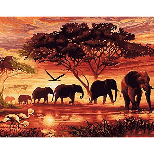 JAGENIE DIY Ölgemälde Nach Zahlen Elefanten Landschaft Zeichnung Auf Leinwand Büro Decor 40 * 50 cm