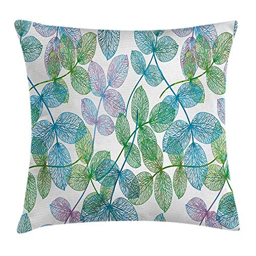 Yinorz Floral Throw Pillow Cushion Cover, Flowers Leaves Ivy Vein Like Rainbow Ombre Colored Art Print, Decorative Square Accent Pillow Case, 18 X18 Inches, Light Blue Fern Green Purple White