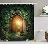 werert Alice in Wonderland Decorations Welcome Wonderland Black and White Floor Tree Landscape Mushroom Lantern Shower Curtain 72 X 72 Inches