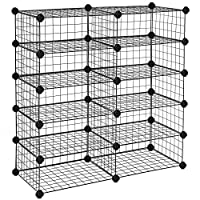 SONGMICS 10 Cube Modular Shoe Rack, Metal DIY Storage Unit, Interlocking Wire Grid Shoe Organiser for the Closet Hallway Bedroom, Includes Rubber Mallet and Anti-tipping Straps, Black LPI25H