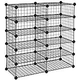 SONGMICS 10 Cubes de Rangement en Treillis Metallique, étagère à Chaussures modulable, pour Placard, Chambre, Comprend Un...