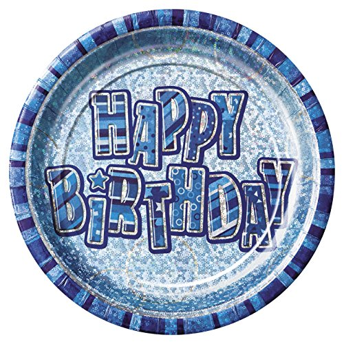 BLING Party Decorations and Tableware for 18th Birthday in Blue Glitz / Sparkle (Paper Plates)  sc 1 st  Amazon UK & 18th Birthday Plates: Amazon.co.uk