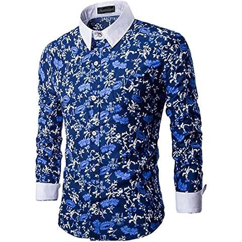 jeansian Uomo Moda Retro Fiori Casual Camicia Top man Slim Dress Shirts 84L8