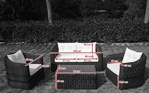 Baidani Gartenmöbel-Sets 10a00009 Designer Rattan Essgruppe Pearl, Tisch – mit Glasplatte, 2-er-Sofa, Sessel, braun - 3