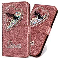 6City8Ni Unique Style Brilliant Liquid Flip Bling Diamond Sparkle Glitter Wallet Leather Stand Kickstand Function Slim Bookstyle Magnetic Switch Closure Card Slots Compatible with Samsung J4 2018