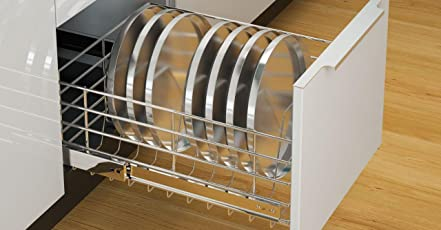 Steelberry | Stainless Steel Wire Basket for Modular Kitchen | Thali Basket | Thickness - 6MM | Depth - 22 inch | Width - 19 inch X Height - 8 inch | Finish: Zinc