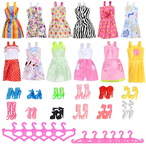 Asiv-12-Abiti-12-Paia-di-Scarpe-12-Rosa-Grucce-per-Barbie-Accessori-Regali-per-bambino-36pz