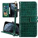 Nadoli Ledertasche für Samsung Galaxy J4 Plus 2018,Krokodil Muster Luxus Männer Frauen Pu Standfunktion Flip Handy Schutzhülle Brieftasche mit Kartenhalter und Handschlaufe,Grün