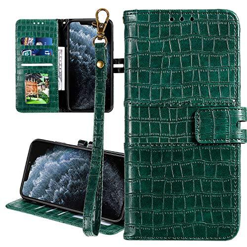 Nadoli Ledertasche für Samsung Galaxy Note 10 Plus,Krokodil Muster Luxus Männer Frauen Pu Standfunktion Flip Handy Schutzhülle Brieftasche mit Kartenhalter und Handschlaufe,Grün