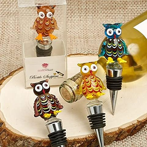 Set Of 4 Murano Glass Owl Wine/Champagne Bottle Stopper Wedding & Party Favours