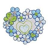 maDDma ® 1 Applikation Aufbügler Aufnäher, Motivauswahl, Applikation:Blütenherz. blautöne