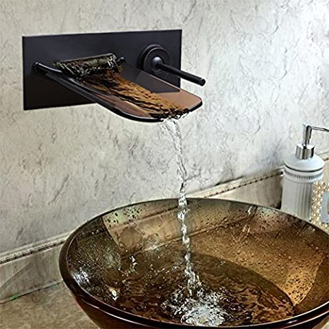 Geeenspring Glass Spout Waterfall Wall Mounted Bathroom Sink Faucet Basin Mixer Tap,Oil Rubbed Bronze