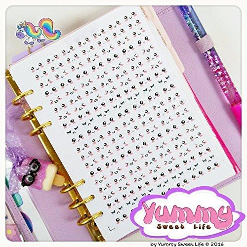 2-fogli-di-adesivi-stickers-a5-emoticon-emozioni-kawaii