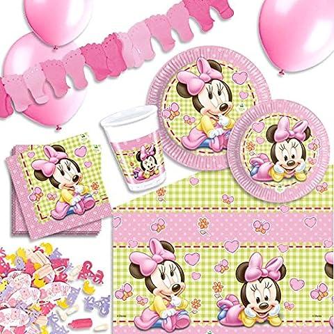 Baby Minnie Mouse Deko Set f. Kindergeburtstag, Partyset kleine Mädchen 57-tlg.