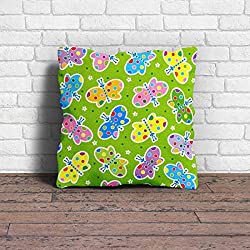 Cushion Cover | Butterfly Print Cushion Cover With Filler | Poly Cotton Cushion Cover For Kids Room Dcor- 1 Piece ( 12 x 12 Inch)
