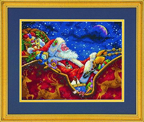 Dimensions Needlecrafts Maße Santa 's Midnight Ride Kreuzstich, Marineblau, 100% Baumwolle, Navy, 35.5 x 27.9 x 0.1 cm