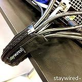 STAYWIRED flexibler Kabelmantel mit Reißverschluss 80 cm schwarz, elegantes Kabelmanagement für bis zu 10 Kabel - 3