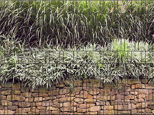 Clôture brise-vue pour panneaux double-fil avecrails de serrage Steinmauer
