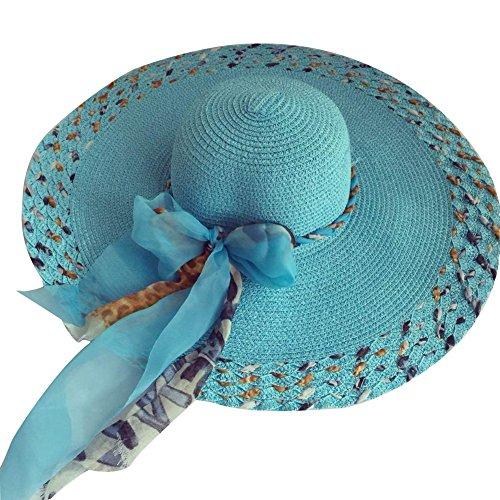 Fletion Femmes Tressé paille Chapeau de soleil soleil d'été Grand bords capuchon de protection UV plage Hat bleu
