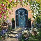 Artland Qualitätsbilder I Poster Kunstdruck Bilder 70 x 70 cm Landschaften Garten Malerei Bunt B0JJ Rosenbogen an der Vordertür
