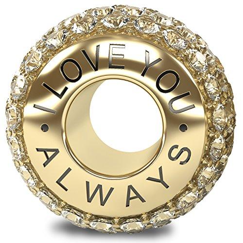 I Love You Always La Colección Real 925 Plata de Ley Oro 18k Charm Abalorio Cuenta con Cristales Austriacos Compatible con Pandora o Pulsera Similar de 3mm