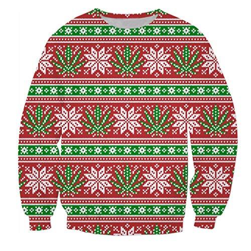 Weihnachten Sweatshirt 3D Streifen Kariert Drucken Weihnachtspullover für Paare Christmas Ugly Sweater Weihnachtsmann Herren Damen Langarmshirt Festliches Top Pullover Pulli - Kostüm Party Instrumental