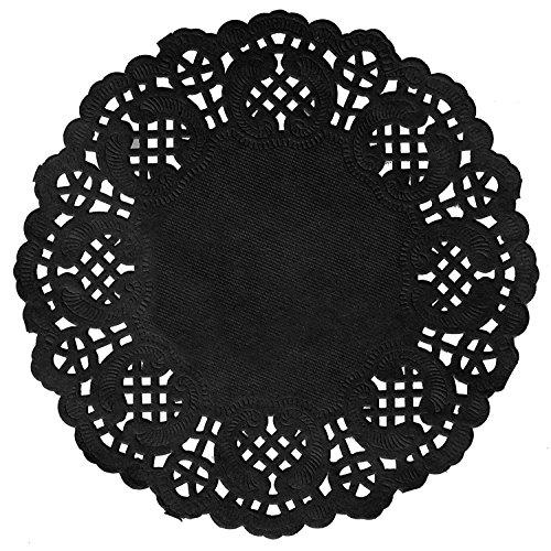 10 Stück Tortenspitzen aus Papier in edlem schwarz - Vintage Stil - Durchmesser 35cm / Torten-Spitzen/Spitzen-Deckchen/Back-Zubehör/Platz-Sets (Papier Deckchen Schwarz)