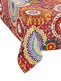 Tischdecke Flower Works. Tischdecke aus Stoff bunt von Inspiration vintage-hippie. Eine Explosion von Farbe Für Ihre Festtafel. Genähte Winkel. 100% Baumwolle. Maschine waschbar. 140x140cm