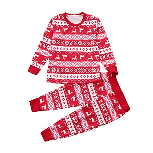 VENMO Kinder Jungen Mädchen Weihnachts-Strampler Overall Christmas Xmas Langarm Druck Strampler Overall Weihnachten Outfits T-Shirt Tops Hose Pyjamas Weihnachten Set Familienkleidung (4T, Red) - Jungen Jacke Leder 4t