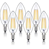 E14 LED Dimmable Candle Bulb, SES C35 Filament Small Edison Screw Light Bulbs, 4w 40W Equivalent, Warm White 2700K, 400lm, Pa
