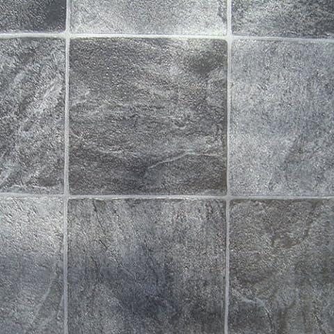 Granite Alu Black Tile Roma Vinyl Flooring, 2.6mm Thick, 3m Wide 3m Long