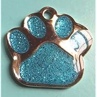 Carlton Trading 27mm Pet Dog ID Tag Turquoise Glitter Paw Shape - FREE ENGRAVING + P&P