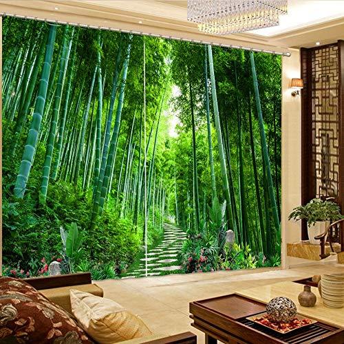 juntop Schöne Wohnzimmer vorhänge 3D vorhänge benutzerdefinierte vorhänge bambuswald landschaftspfad Fenster verdunkelungsvorhänge 1 w140 h142