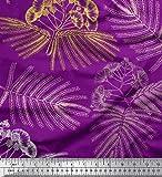 Soimoi Violet Crepe Poly en Tissu Feuilles et Albizia Fleur Tissu a Coudre Imprime par Metre 52 Pouce Large
