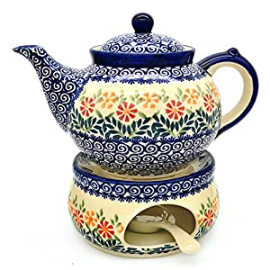 Polish Pottery Teapot approx. 4 to 6 cups, 1.25 litre with Warmer and Tea-light Holder