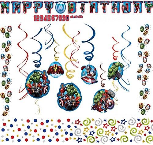 burtstag Dekoration Set Happy Birthday Deko Partykette Spirale Girlande Konfetti Avengers für jeden Alter (Geburtstag Avengers)