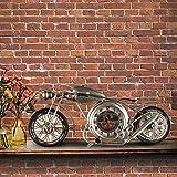 FGDJTYYJ G'z Horloge Murale Ancien l'europe Moto Décoration Salon Chambre Métal Art du Fer 13 * 15 cm l'horloge, Brown...