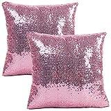 JOTOM Paillettes Fodera per Cuscino,Fodere per Cuscini Decorative per Divano da casa,40 x 40 cm,Set di 2 (Rosa)