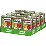 Kitekat Katzenfutter Nassfutter Adult für erwachsene Katzen mit Rind in Sauce, 12 Dosen (12 x 400g)