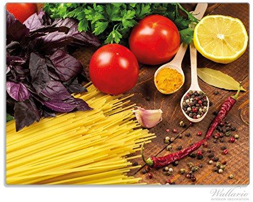 Wallario Stilvolle Glasunterlage / Schneidebrett aus Glas, Italienisches Menü mit Spaghetti, Tomaten, Basilikum und Gewürzen, Größe 30 x 40 cm, kratzfest, aus Sicherheitsglas