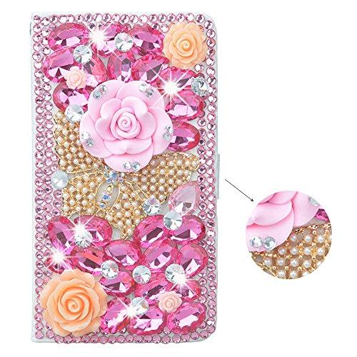 Preisvergleich Produktbild spritech (TM) 3D Handmade Bling Pink Diamond Design Case Luxus PU Leder Wallet Case Flip Cover Mit Kreditkartenfächer Und Aufstellfunktion, Color-66, Samsung Galaxy S5 Mini