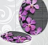 StickerProfis WC Sitz Aufkleber PINK ORCHIDS Design Folie Dekor für Toilettendeckel Klodeckel incl. 2 Fliesenaufkleber Orchidee