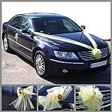 Decoración de coche de bodas kit completo, decoración de tul de tela nupcial blanco para coches de invitados y recién casados (Marfil)
