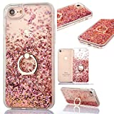 iPhone 7 Glitter Case,Crystal Clear Ultra Thin TPU Floating Sparkle Hearts Stars Liquid Bling Glitter Case for iPhone 8,Cover for iPhone 7/iPhone 8 with 4.7 inch Screen,3D Creative Funny Cute Liquid Flowing Floating Sparkle Bling Glitter Diamond Durable Rubber Silicone Back Case Cover Shell Drop Protection with Ring Holder Stand for Apple iPhone 7/iPhone 8