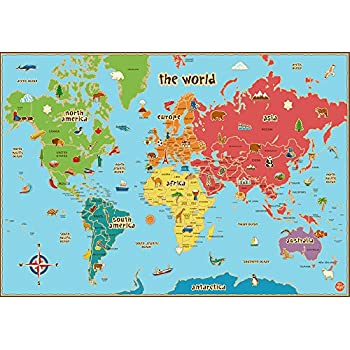 Childrens World Map Poster A A A A Education Teach Geography - A3 printable world map